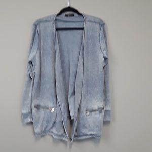 Cyrus plus size dip dye open front gray cardigan